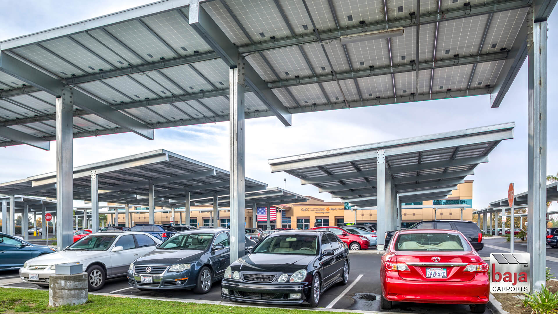Comprehensive Blood and Cancer Center, Bakersfield, CA | Full Cantilever T Baja Carport Solar Support System | 1.3 MW | 3,762 Solar Panels | 409 Spaces | 77,484 sq ft