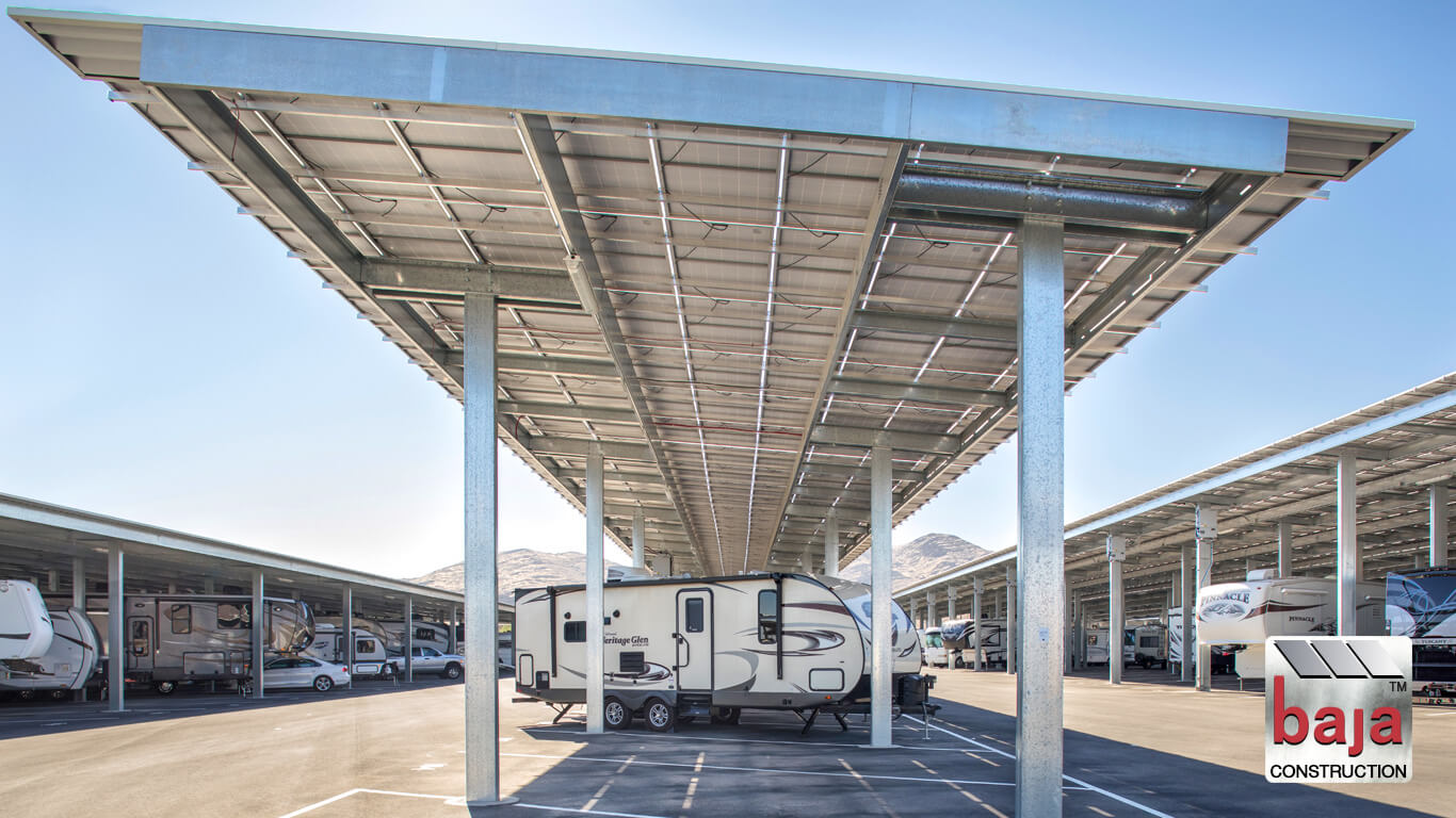 beautiful day captures rv's parked under solar carports at love's rv storage las vegas nv