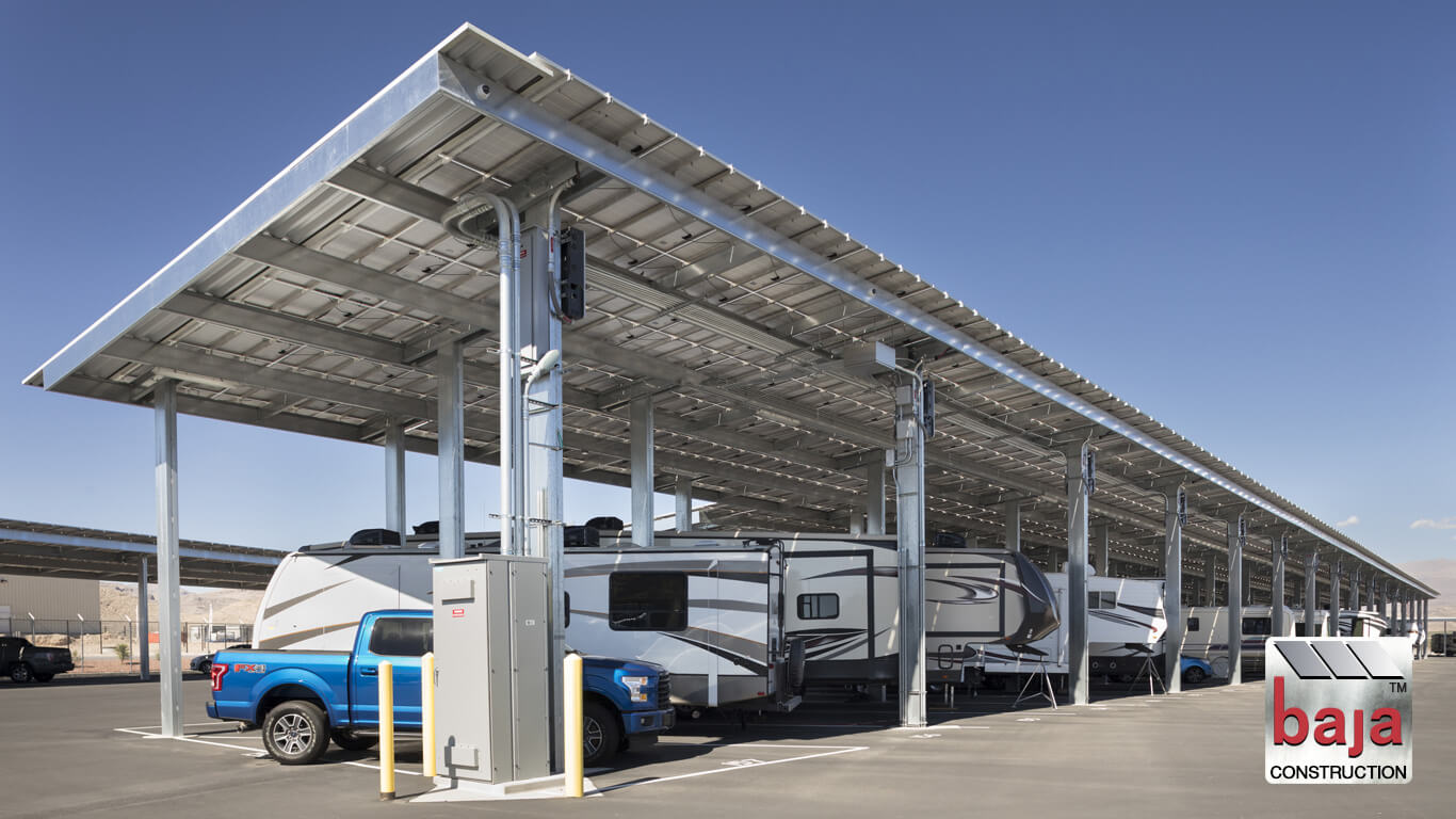 helping keep rv's and boats out of the sun and producing electricity at the same time are solar covered parking spaces