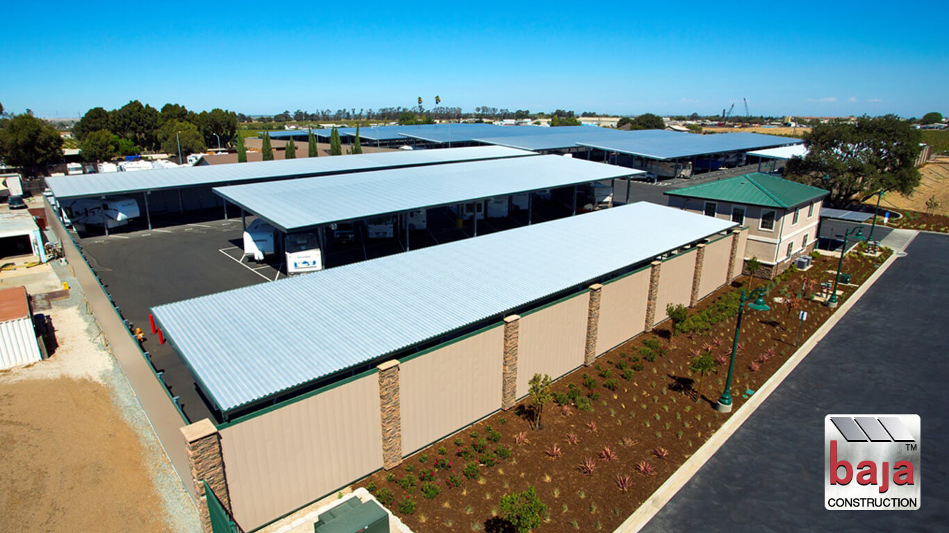 the aerial captures standard shade canopies at rv and boat storage