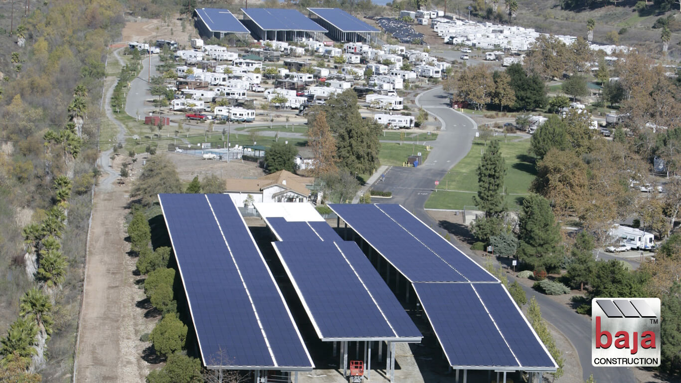 aerial shows off rv and boat solar covered carports at santee lake ca