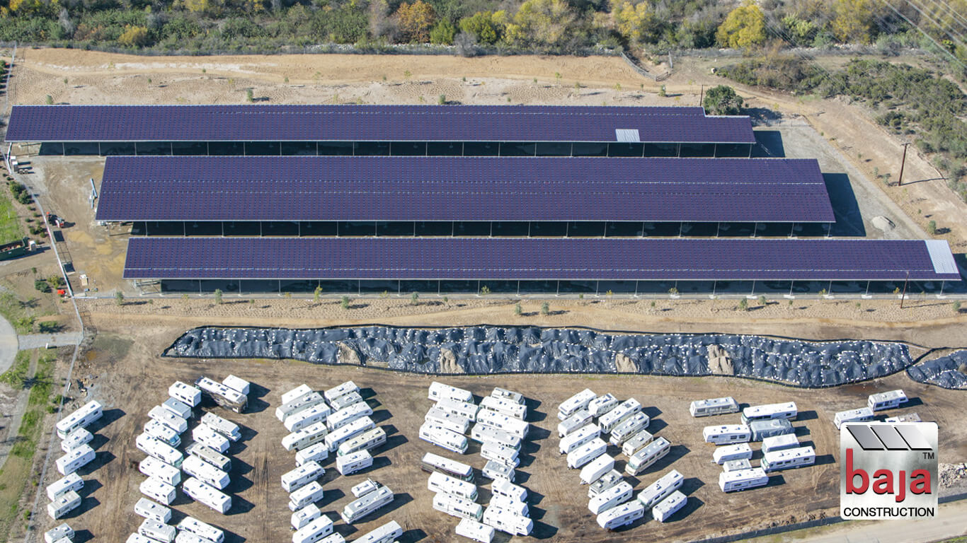 angle parking plus solar covered carports brings income to rv storage business