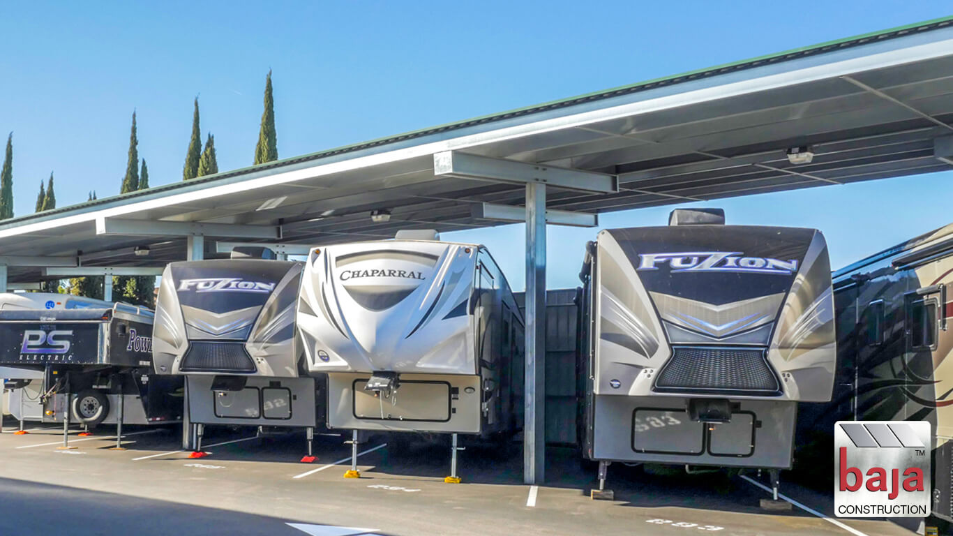 canopies installed by baja construction at oakley executive rv and boat storage in oakley ca