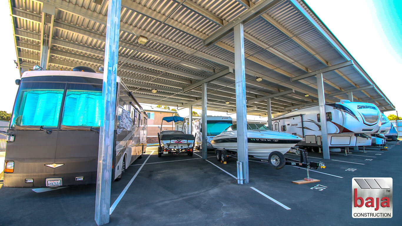 boats and rvs parked under standard shade canopies installed by baja construction
