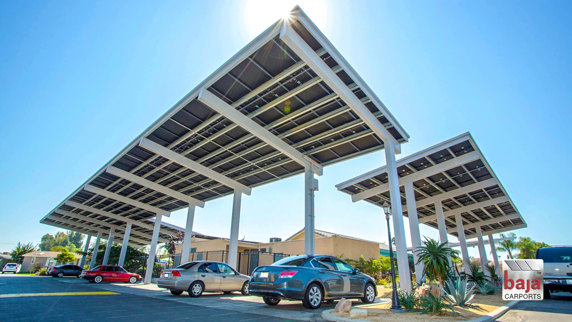 guest park under solar carports at california estates