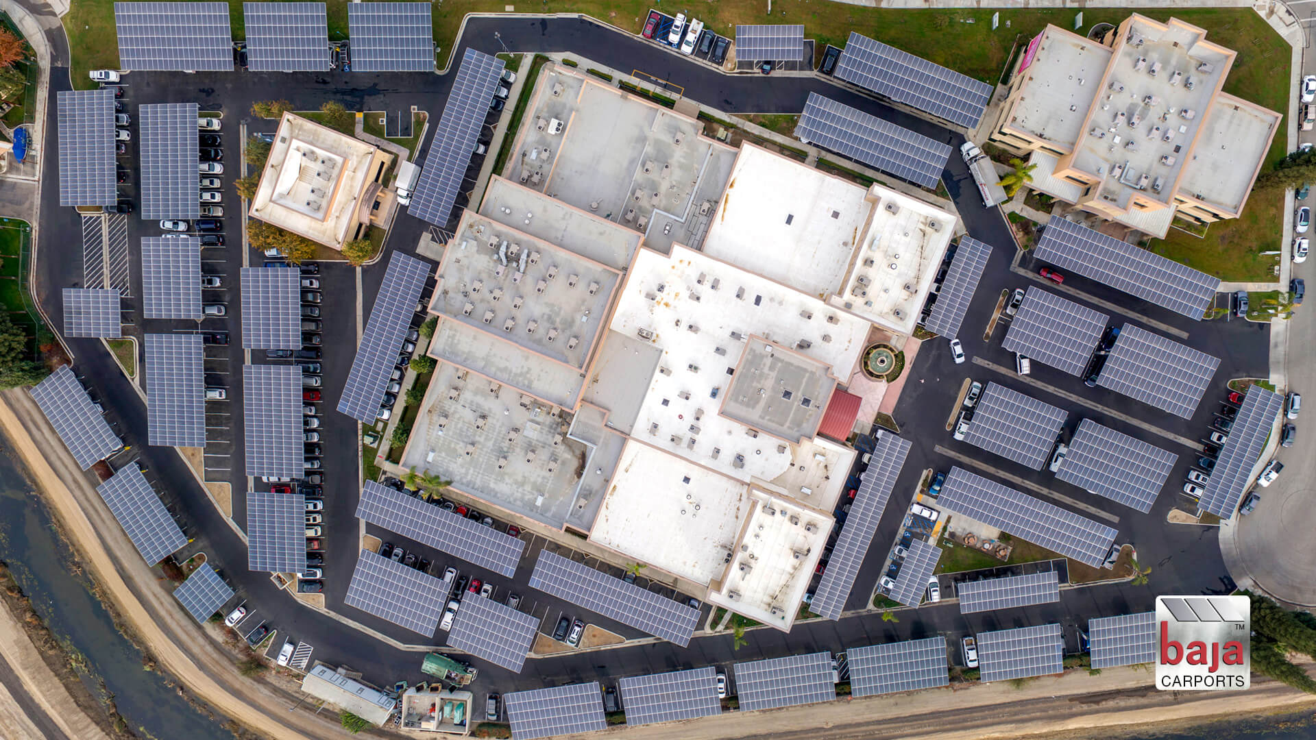 stunning aerial comprehensive blood and cancer center bakersfield california solar carports installed by baja carports