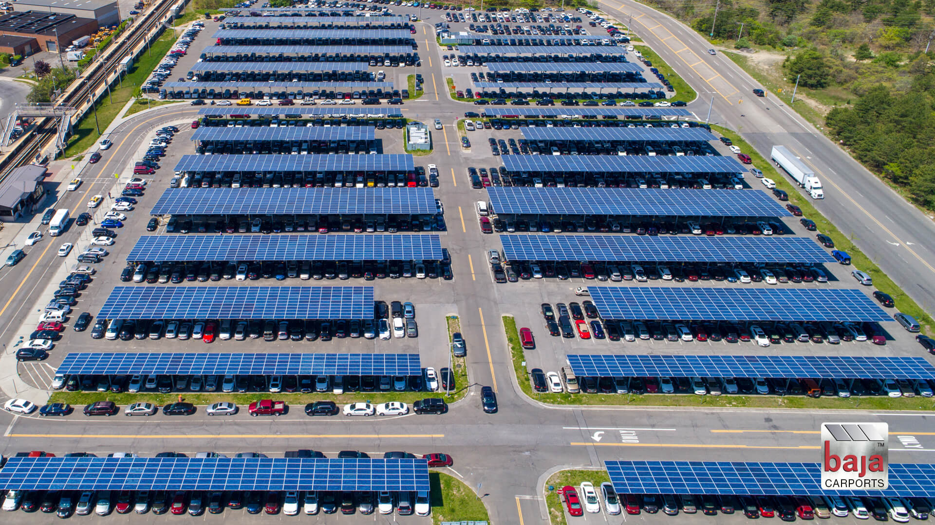one of new york's largest solar carport parking lots is at deer park train station