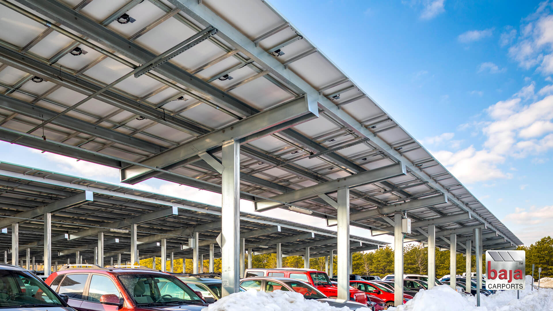 massive solar carport lot at deer park train station installed by baja carports