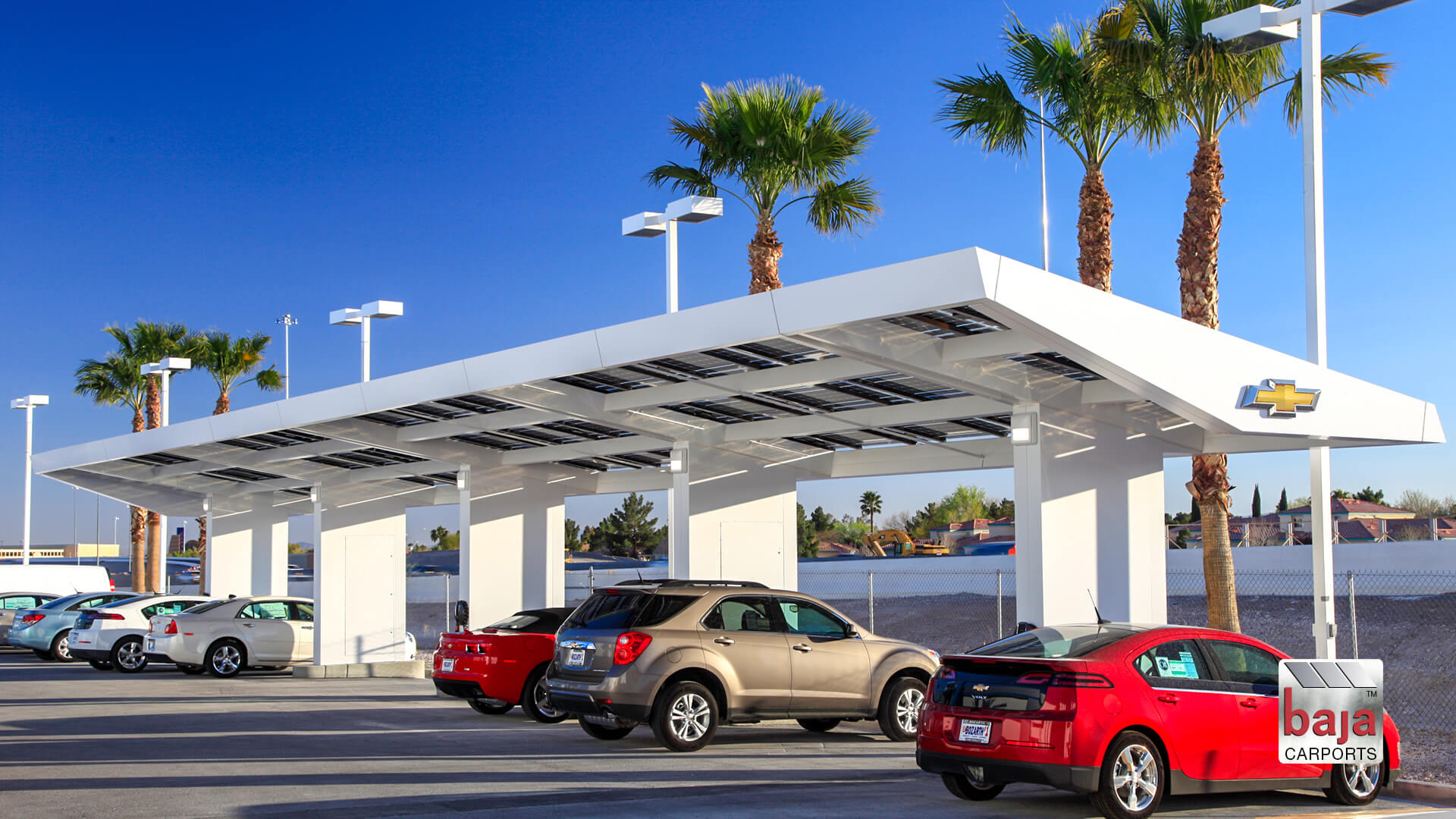 specialty carport designed for ed bozarth chevrolet las vegas installed by baja carports