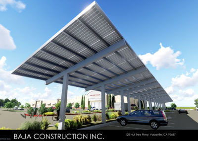 Baja's In-House Design Engineer's Rendering for a Retail Solar Canopy Parking  |  Baja Carport Full Cantilever Solar Support Systems