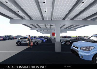 Baja Carport Design Engineer's Rendering for a Full Cantilever T Solar Support System with Wrapped Concrete Columns