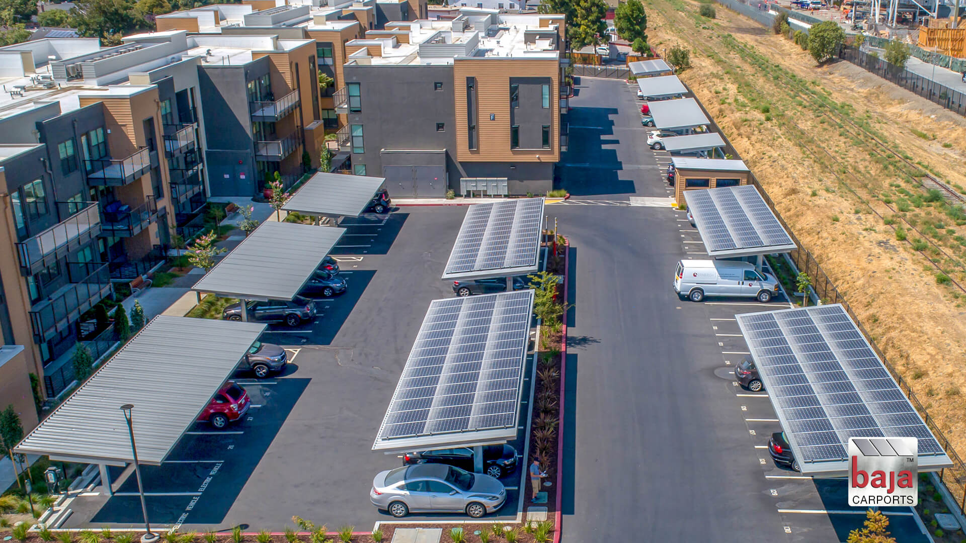 aerial video capturing multi family affordable housing solar carports installed at hamilton apartments in menlo park ca