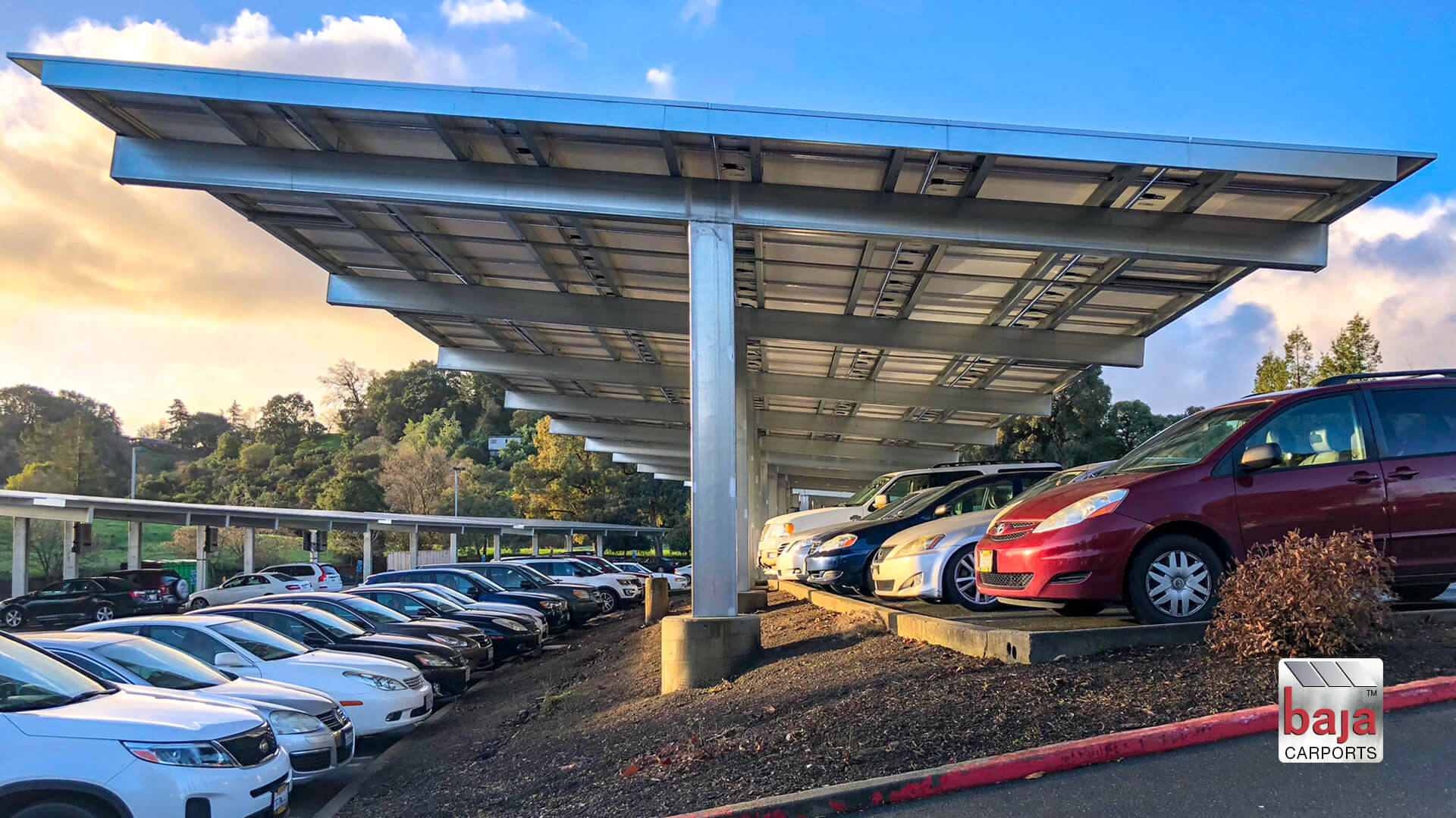 back to back full cantilever t solar carports at kaiser martinez