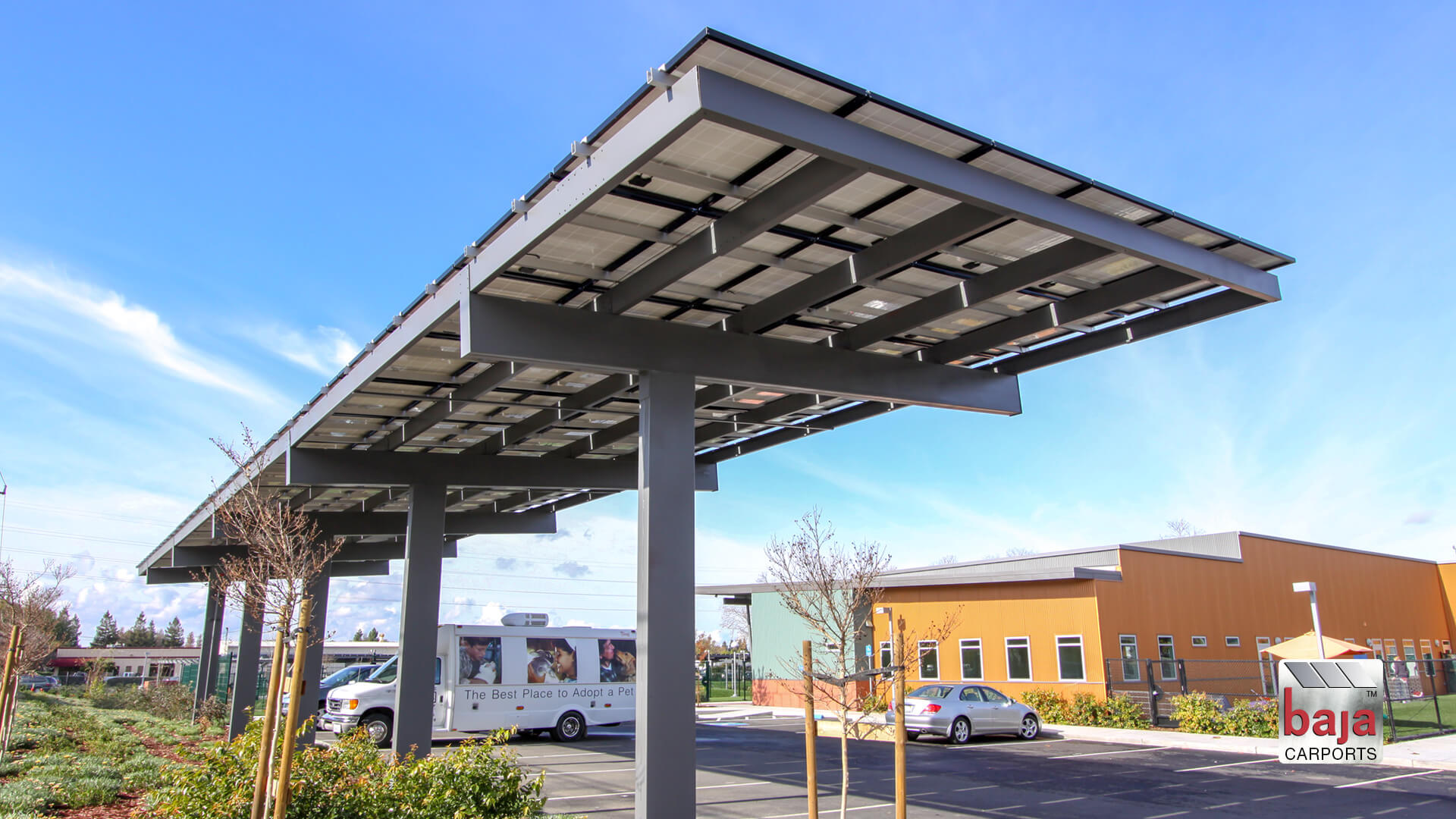 full cantilever offset box solar support system a baja carport structure