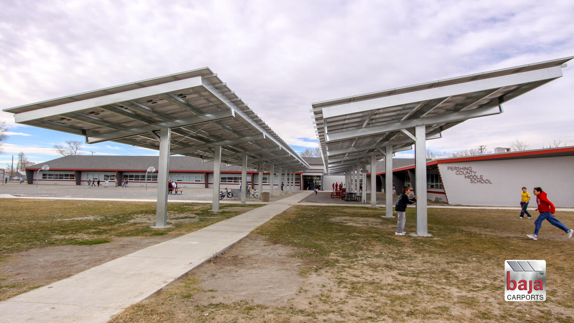 braced single post solar support system at pershing middle school in lovelock nv