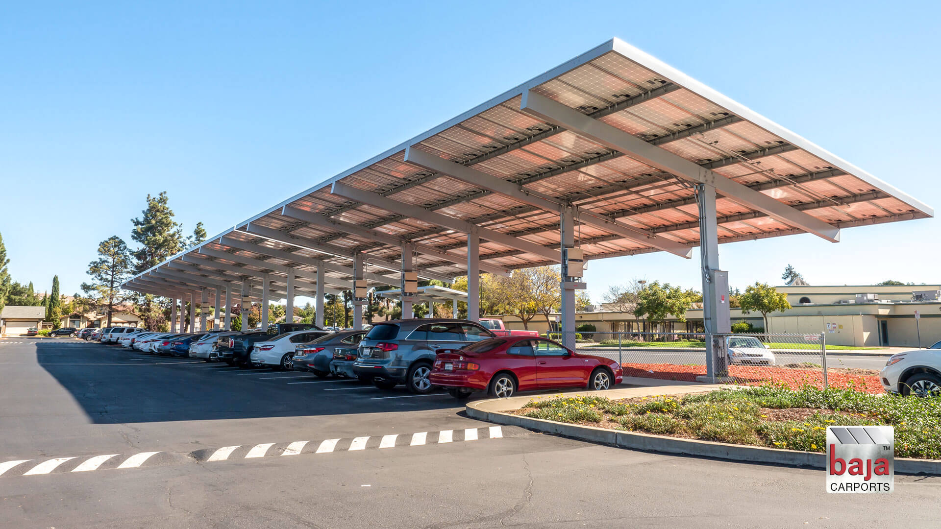 schools like cesar chavez middle school have covered their parking areas with solar covered carports