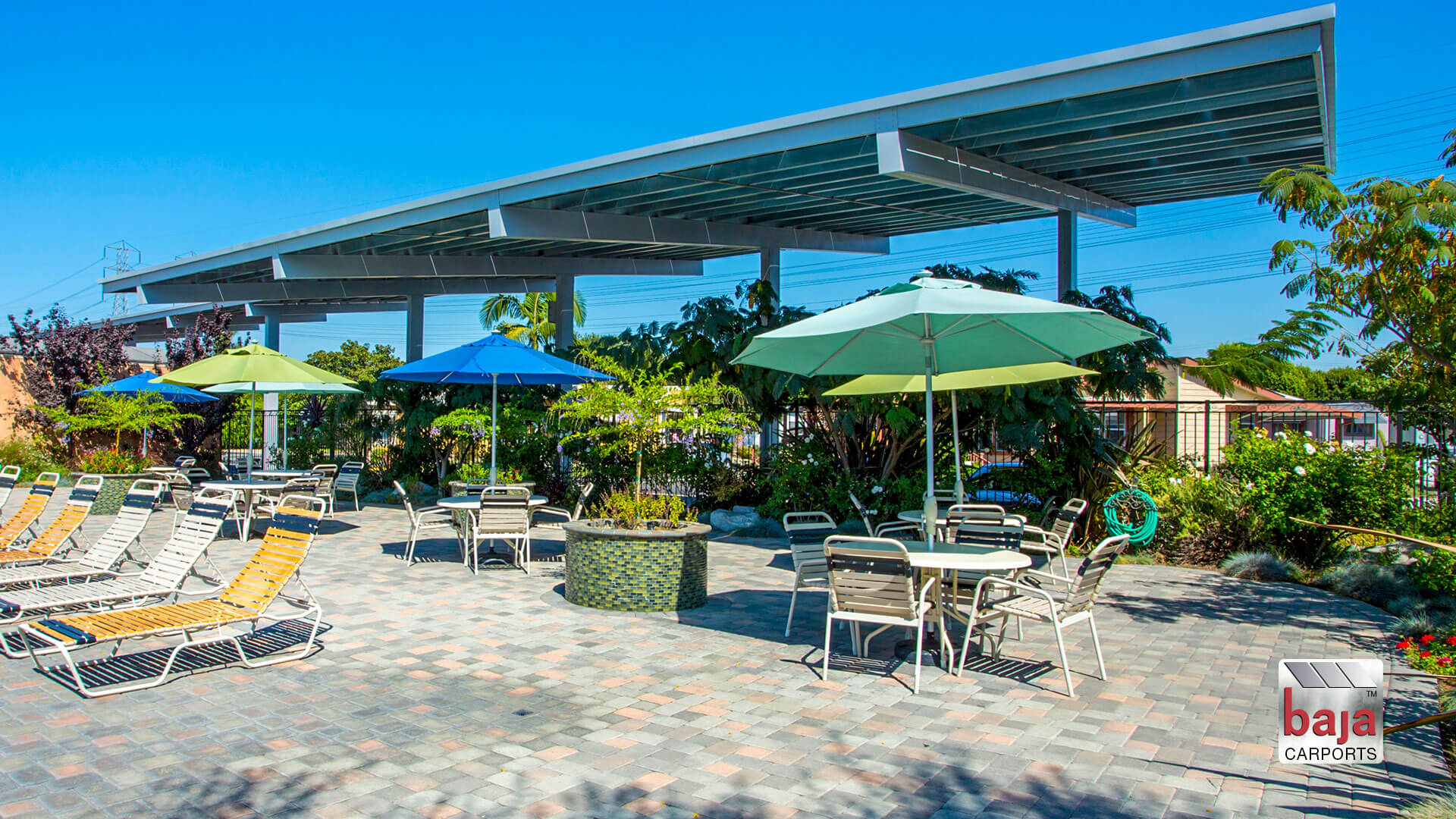 More Community pools using solar shade canopies by baja carports