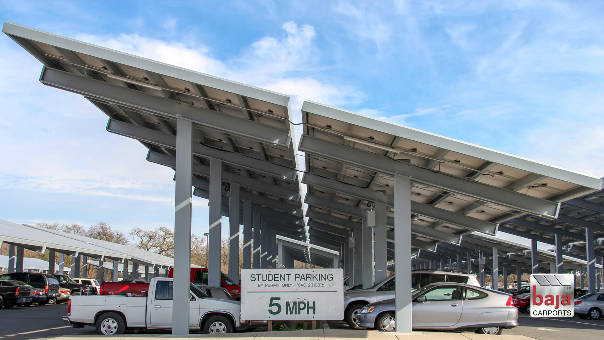 at sonoma high school students park under solar carports