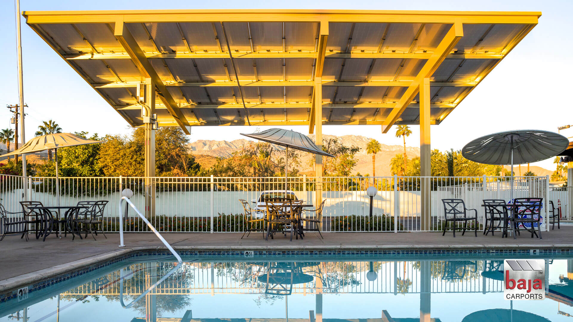 solar covered pool canopy installed by baja carports