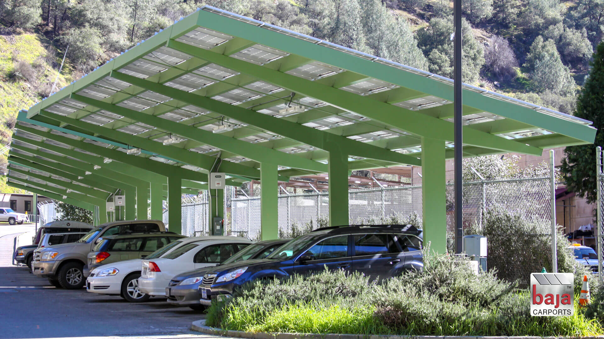 yosemite administration empolyees park under solar support systems