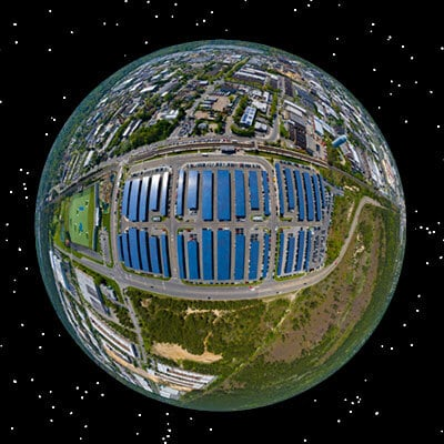 Earth view of Solar Carports at New York Suffolk County Train Station