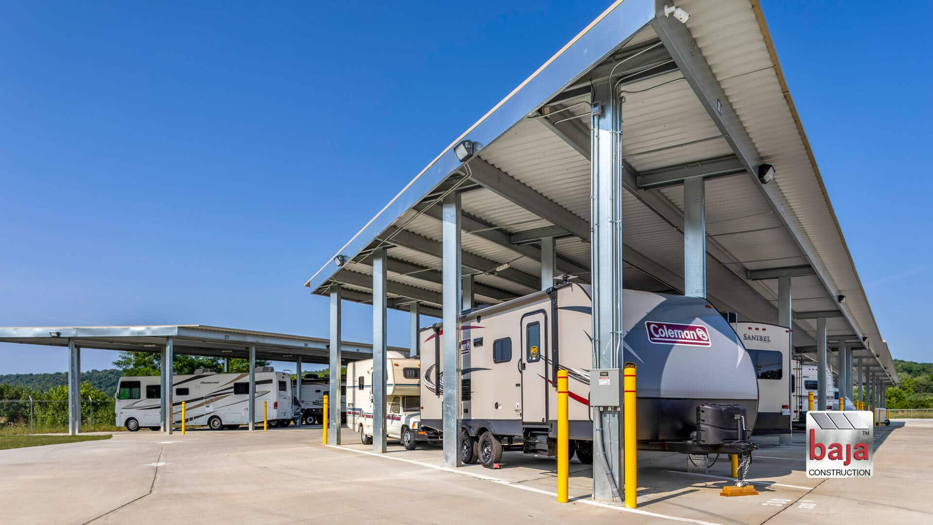 Wilder Self-Storage utilizes Baja Carports Standard Covered RV Canopies to Cover 88 Tenant Spaces