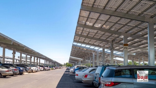 Franchise Tax Board, Sacramento, CA | Full Cantilever T Single Post Baja Carport Solar Support System | 3.6 MW | 12,036 Solar Panels | 1,276 Spaces | 216,920 sq ft