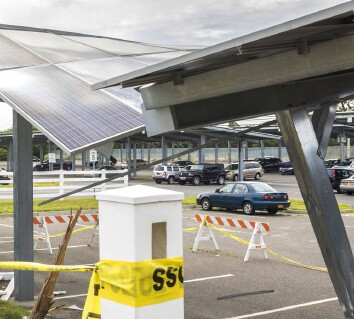 Damaged to PV panels on carport caused by vehicle colliding into it