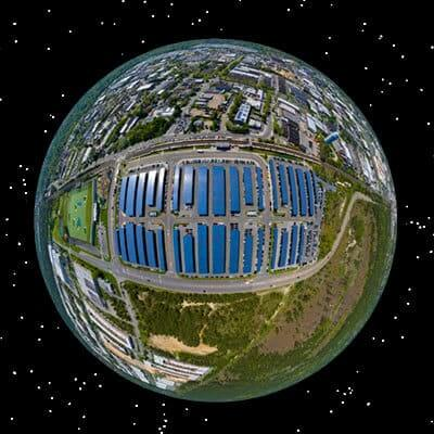 Earth view of a large Solar covered carport system on New York Suffolk County Train Station
