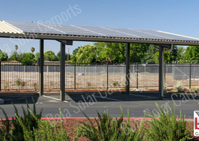 Solar on roof deck on carport for tenant parking coverage