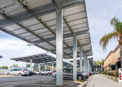 Solar carports on hospital centers parking lots at Comprehensive Blood and Cancer Center