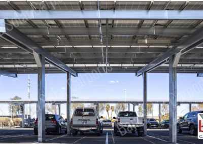Double post solar carport system covered parking lot in Vegas Nevada