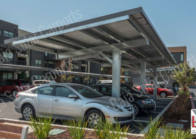 Solar carports and solar ready carports cover multifamily parking lot