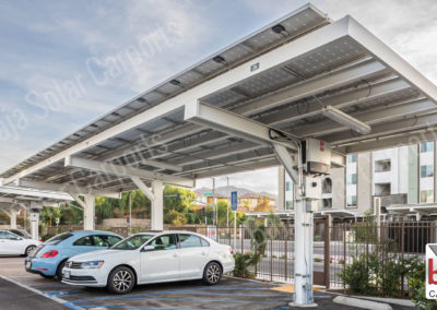 Solar carports braced single post multifamily Title 24 Mandate