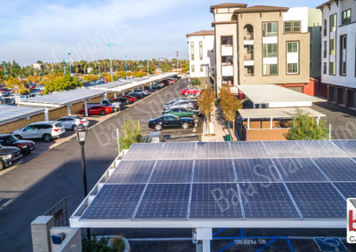 Aerial of solar carports at Metro Gateway Apartments in Riverside, California
