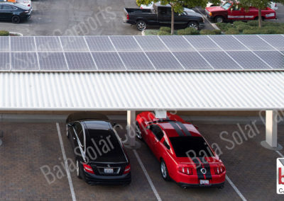Rain and shade protection with Roof deck solar carport