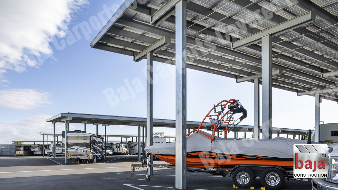 Oakley Executive RV & Boat Storage uses Baja Carports Solar Carports
