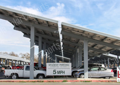 Student parking DSA Back to back solar carport Semi Cantilevers
