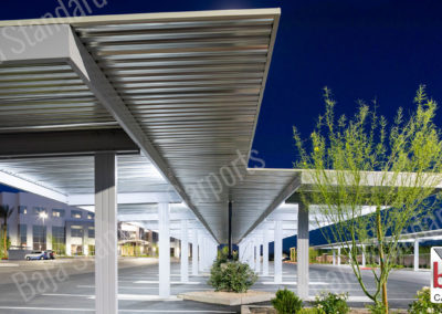Light on carports helps with safety on a dark parking lot