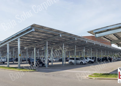 Solar carport double post open cee beam by Baja Carports