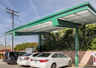 Semi cantilever solar carport system power coated