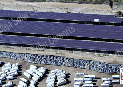 Solar carport project is complete at Santee Lakes, California for covered RV parking