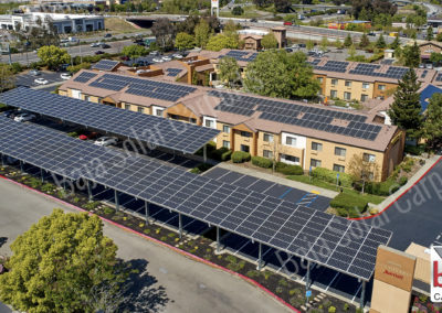 Solar Carports covered the parking lot at Marriott Courtyard Hotel in Vacaville, California