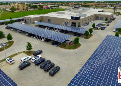 Solar carports protect Mercedes Benz dealership in McKinney Texas