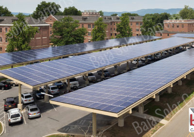 Solar Carports cover parking for guest and staff at Montrose VA Hospital New York