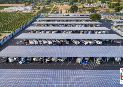 Solar carports cover RV's and boat at Oakley Executive RV Storage Facility