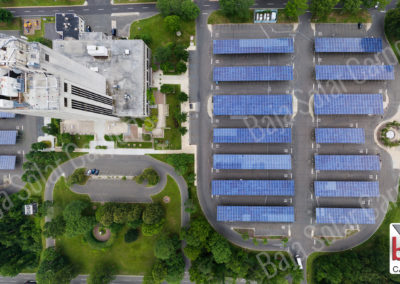 Solar Carports cover parking lot for Suffork County Court staff and guest