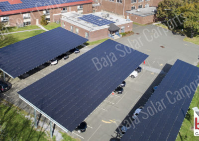 Solar Carports cover teacher parking lot at Sussex Middle School in New Jersey