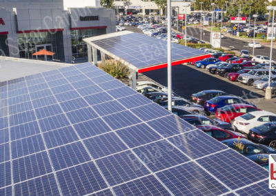 Solar carports in Dublin California protect dealership's inventory from sun