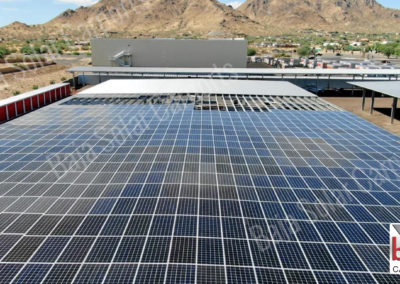 Solar carports cover RV's at U-Haul's corporation headquarters in Arizona